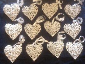 12 white wicker hearts