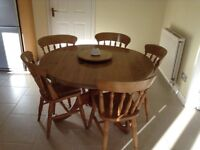 Solid Pine Pedstal Table and six chairs