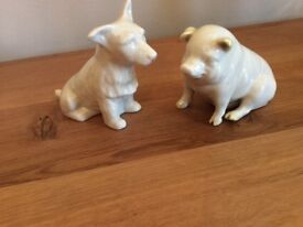 BELLEEK FINE CHINA DOG AND PIG FOR SALE