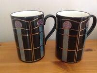 Pair of Rennie Mackintosh design Dunoon pottery mugs