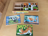 Melissa & Doug Pets 4-in-1 wooden jigsaw puzzles in a box (48 pcs)