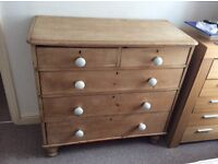 Antique Victorian Pine '2 over 3' Chest of Drawers