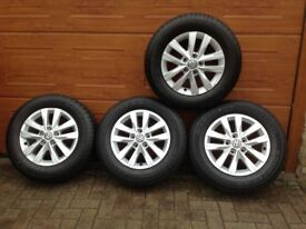 """VW Transporter Genuine 16"""" Alloy Wheels and Tyres AS NEW"""