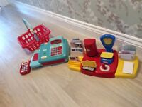 Toy till with money and Post Office play with many accessories