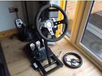 Logitech G27 racing wheel and stand