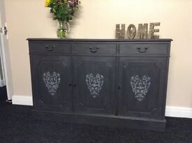Solid wooden sideboard in grey with shabby chic heart detail lots of storage in cupboards and drawer