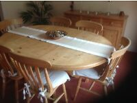 Antique pine dining table and sideboard