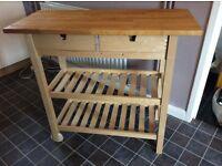Solid birch kitchen trolley
