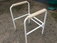 Bed rail and toilet support frame