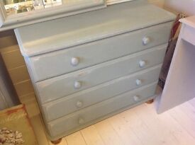 Chest draws ,painted in duck egg blue