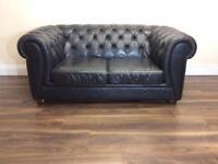 2 seater dark blue chesterfield sofa
