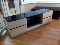 White high gloss, black glass top TV unit W152cm x H50cm x D41cm