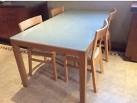 Oak Table with glass top & 4 Oak Chairs with leather seats