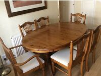 Oval Pine Extending Dining Table and 6 Chairs by Ducal