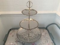 Large Hammered Chrome 3 Tier Cake Stand with Brass Studs.