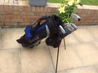 Boys Gold Clubs a d bag with stand