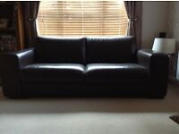 Dark brown leather sofas (3-seater & 2-seater)