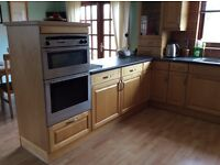 Bespoke kitchen with solid maple doors, including Neff electric oven & gas hob, s/s sink & tap