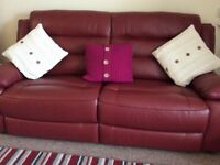 3 seater leather settee and recliner chair in raspberry
