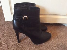 Black dune high heeled ankle boots size 5