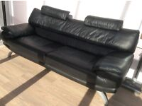 Black large 3 seater VGC leather settee