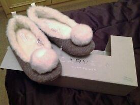 NEW BOXED - Kurt Geiger, Carvela Grey pom pom slippers, size 3-4
