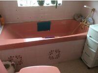 Bathroom suite 1980's Coral Pink