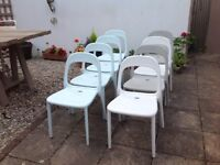 EIGHT MATCHING STYLE IKEA URBAN STACKING CHAIRS -can deliver