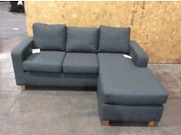 Grey Fabric Reversible Corner Sofa - Ex Display - £249 Including Free Local Delivery
