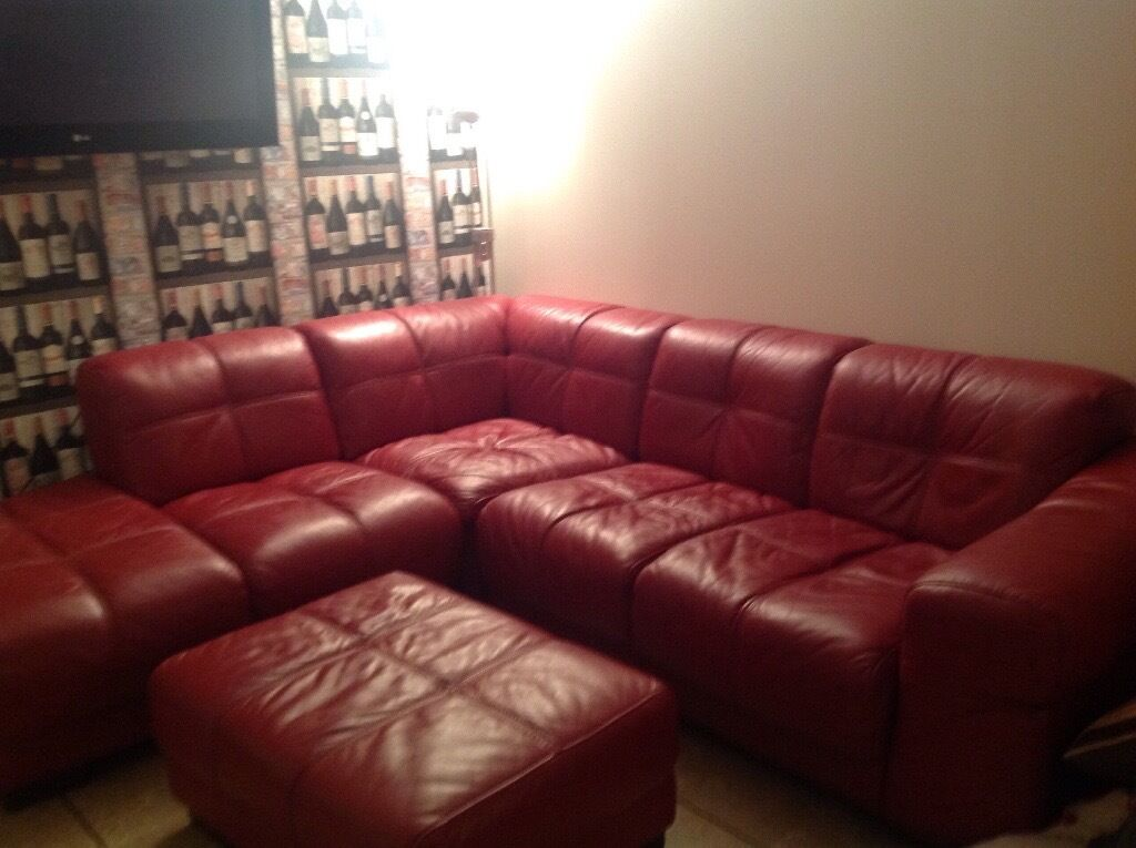 Gillies corner red leather sofa