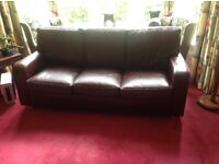 Leather 3 seater brown sofa