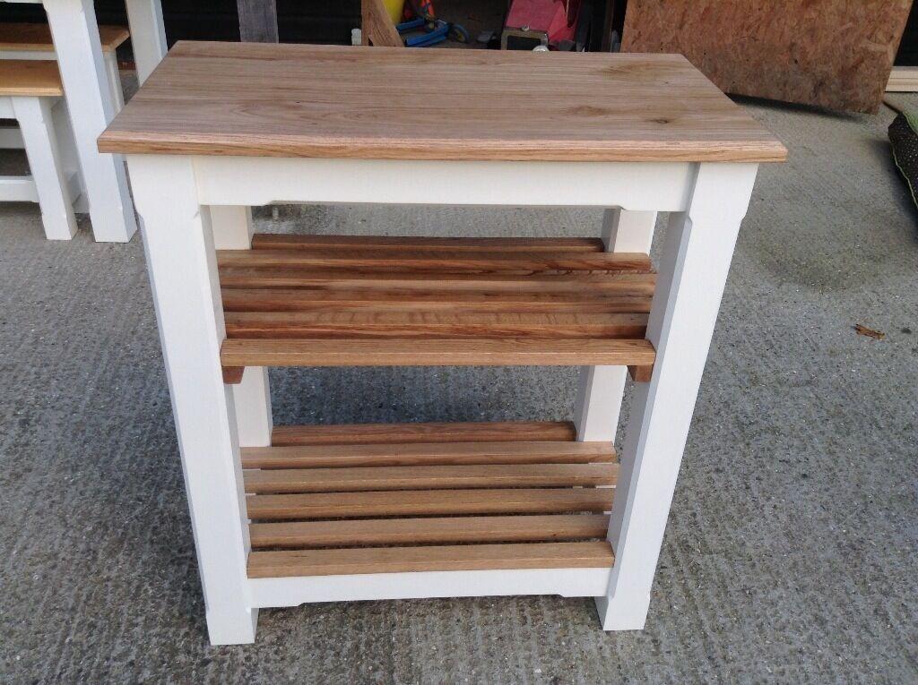 New solid pine oak kitchen island sideboard table butcher block veg shoe rack made to meas