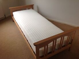 Wooden toddler bed with mothercare mattress in Bude, Cornwall. Can deliver locally if needed.