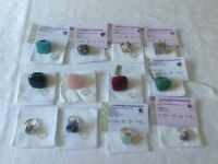 Gemstone and sterling silver rings (12)
