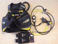 Cressi Travellight XL BCD & cressi mc9/XG compact regulator & SPG/depth gauge