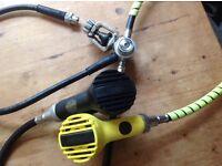 Diving regulator Poseidon Jetstream and Octo and suit infaltion hose.