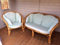 2 seater settee and a armchair in cane ideal for a summer house