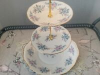 Colclough Bone China 3 Tier Cake Stand. Pink & Blue Floral