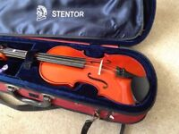 3/4 violin, case and bow