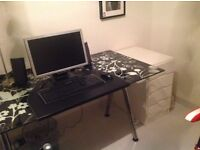 Glass Desk, Including Monitor, Keyboard, Speakers & Side Draws