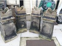 Reclaimed chimney pots - set of four chimney pots ideal for garden planters