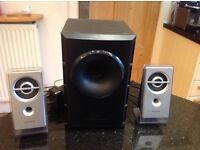 SONY Active Speakers System 2 x speakers and 1 x subwoofer
