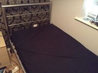 Used single metal bed with memory foam mattress