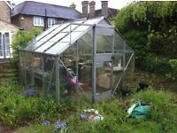 GREEN HOUSE - PLUS 3 WOODEN BENCHES (2.54 metres x 2.54metres) - TAKER TO DISMANTLE AND REMOVE