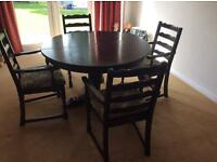 JAYCEE SOLID OAK TABLE FOUR CHAIRS & DRESSER