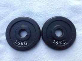 2 x 1.5kg Standard Cast Iron Weights