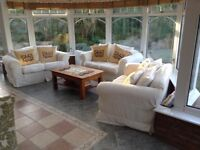 3 x cream loose cover sofa's. Can be bought and picked up individually or together. cushions inc.