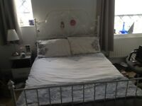 White ikea double bed frame