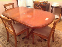 SOLID WOOD EXTENDED DINING TABLE WITH 4 CHAIRS + FREE DELIVERY
