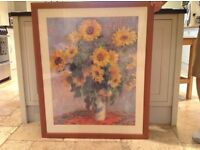 Large wooden picture frame with sunflower print